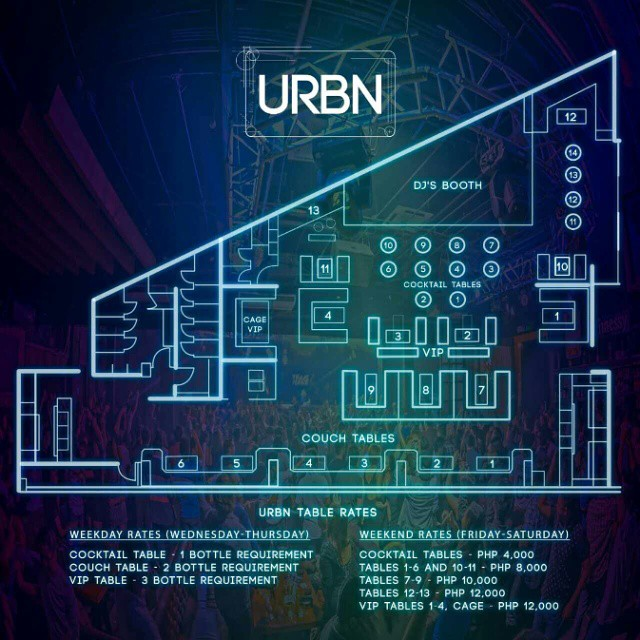 Urbn Manila VIP Table Layout