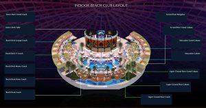 cove manila indoor beach club table and cabana layout