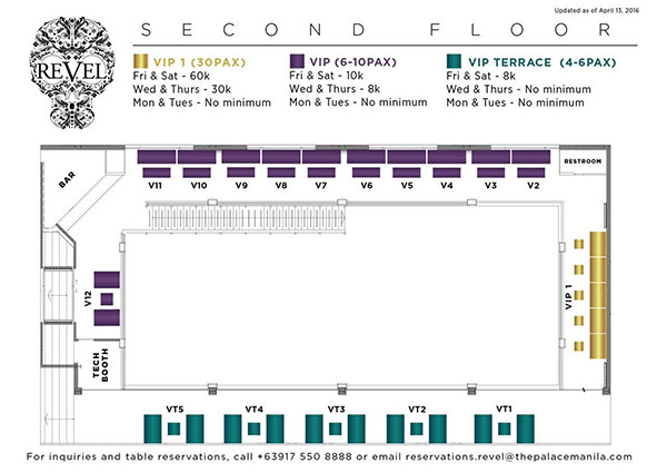revel table layout and prices second floor