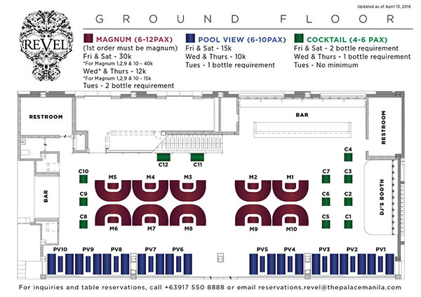 revel vip table layout and prices ground floor