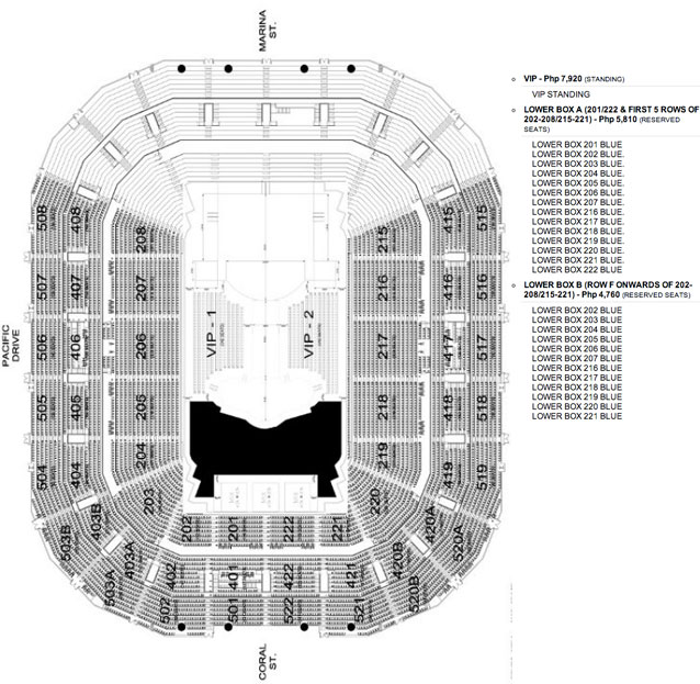Seat map and ticket prices for Swedish House Mafia Manila 2012